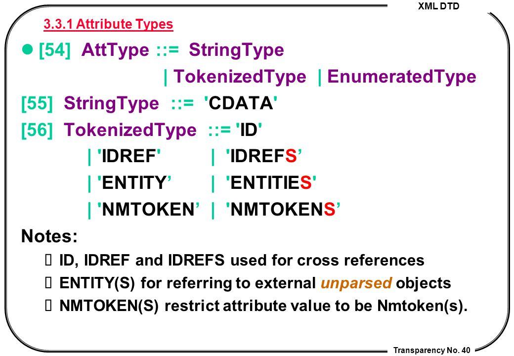 [54] AttType ::= StringType | TokenizedType | EnumeratedType